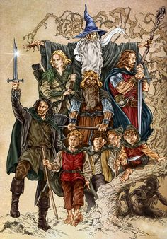 "the company by NachoCastro.deviantart.com on @deviantART - The Fellowship (plus Gollum) from ""Lord of the Rings"". Coloured version of http://www.pinterest.com/pin/398076054535237157/"