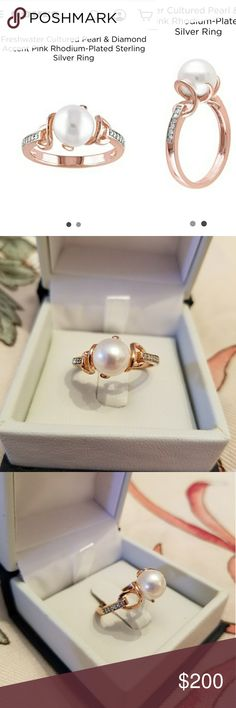 Pearl & Diamond Ring Brand new. I bought it to wear for my wedding but decided not to. Size 8. Comes with original navy box with bow. Ring details listed in last pic. Purchased from Kohls. Jewelry Rings