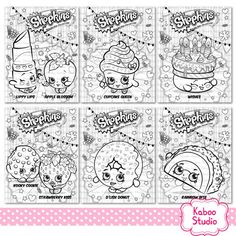 6 Shopkins coloring sheets - Instant download PDF - Birthday, party coloring activity sheets, pages, game, favor - YOU PRINT
