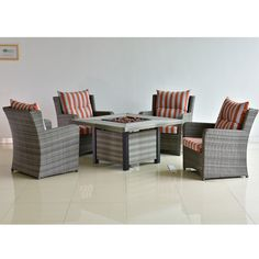 Best modern backyard square rattan table and chair outside garden furniture outdoor fire pit