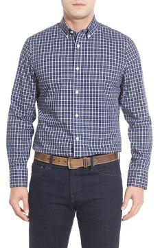 Nordstrom Men's Shop Smartcare™ Mini Plaid Sport Shirt (Big)