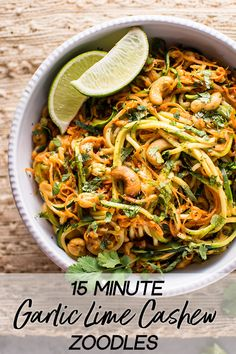 15 Minute Garlic Lime Cashew Zoodles - The BEST vegan zoodles recipe out there! These garlic lime cashew zoodles are ready in only 15 minu - Cooking Zoodles, Whole Food Recipes, Cooking Recipes, Dinner Recipes, Dessert Recipes, Keto Desserts, Vegetarian Recipes, Healthy Recipes, Vegan Zoodle Recipes