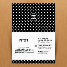 Chanel Brand 21st Birthday Party Invitation  Digital by MimiDezign, $18.00