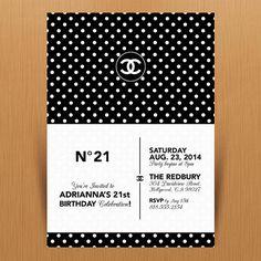 Chanel Brand 21st Birthday Party Invitation  Digital by MimiDezign, $18.00