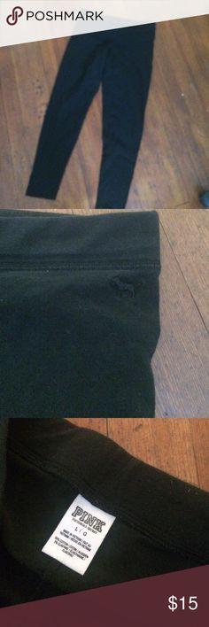 Victoria's Secret black leggings Size large. Nice shape. PINK Victoria's Secret Pants Leggings
