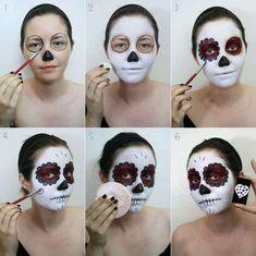 Imagen maquillaje-para-disfraz-de-esqueleto-para-halloween-2014-paso-a-paso del artículo Maquillaje para disfrazarse de esqueleto en Halloween 2017