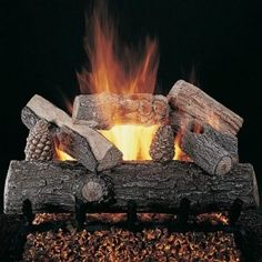 The Rasmussen Lone Star Vented Gas Log Set (LS) features heavy bark, straight front log with a split and bark top logs, and pine cones. Its lower profile is great for standard factory-built or larger fireplaces.