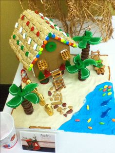 Tropical Gingerbread House - shredded wheat for the roof