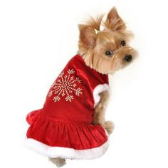 Simply Dog Snowflake Rhinestone Dog Dress, Red, (Multiple Sizes Available)