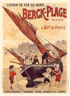 Berck Plage Vintage Poster Reproduction. French travel poster features a beached sailboat with 2 sailors and red sails surrounded by children playing in the sand.