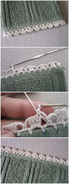 If you looking for a great border for either your crochet or knitting project, check this interesting pattern out. When you see the tutorial you will see that you will use both the knitting needle and crochet hook to work on the the wavy border. Crochet Edging Patterns, Crochet Lace Edging, Crochet Borders, Love Crochet, Diy Crochet, Crochet Crafts, Crochet Projects, Picot Crochet, Stitch Crochet