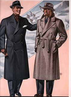 Example of Men's Overcoat Men's Fashion. men in trenchcoats, double… Mode Masculine Vintage, Vintage Mode, 1940s Mens Fashion, Vintage Fashion, Mens Overcoat, Fashion Illustration Vintage, Fashion History, Men's Fashion, Cheap Fashion