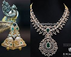Diamond Necklace Diamond Necklace Peacock Jhumkas by RM Jewels - Splendid diamond necklace and tremendous peacock diamond jhumkas from RM Jewellers. The necklace itself very attractive and dazzling look with brilliant cut and rose cut diamonds. Diamond Jhumkas, Black Diamond Earrings, Diamond Necklace Set, Diamond Pendant, Diamond Jewelry, Diamond Choker, Dimond Necklace, Gold Pendent, Quartz Jewelry