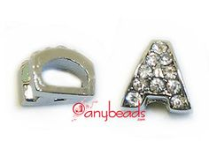 """Alphabet """"A"""" Slide Charm with Crystal Rhinestones. Create your own unique personalized name bracelet."""