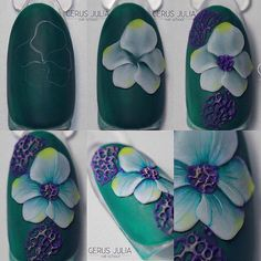 Manicure step by step – Art Ideas 3d Nail Art, 3d Acrylic Nails, 3d Nails, Cool Nail Art, 3d Nail Designs, Colorful Nail Designs, Gorgeous Nails, Pretty Nails, Nail Art Fleur