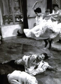 The cancan dancers rehearse their routine in preparation for the grand opening of the Moulin Rouge in French Cancan, director Jean Renoir Shall We Dance, Lets Dance, Seductive Dance, Folies Bergeres, Jean Renoir, Ziegfeld Follies, Dance It Out, Vintage Paris, Dance Hall