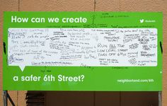 Neighborland « Candy Chang what do we want our new school to be? Interactive Exhibition, Interactive Walls, Interactive Installation, Community Space, Community Events, Happy City, Urban Ideas, Urban Intervention, Stencil