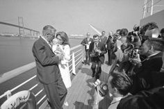 Cary Grant and Dyan Cannon with their daughter Jennifer on the S.S. Oriana departing from Los Angeles for England.