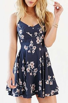 Vintage Floral Print Crisscross Back Cami Dress - Beautifulhalo.com #camidress