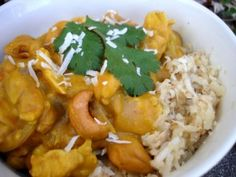 PaleOMG's Pumpkin Cashew Coconut Curry over Coconut rice is the most delicious curry I've ever made!