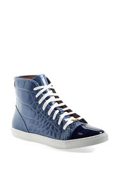 Kurt Geiger London 'Leemo' Croc Embossed Leather High Top Sneaker available at #Nordstrom