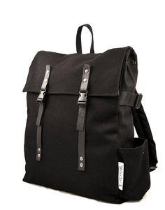 Unisex black cotton minimalist backpack