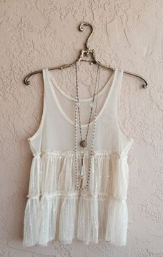 Romantic Sheer tulle sequins babydoll camisole