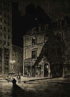 """The Great Shadow, 1925. 10x7"""", Drypoint engraving by Martin Lewis"""