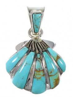 Southwestern Turquoise Inlay And Sterling Silver Seashell Pendant www.silvertribe.com