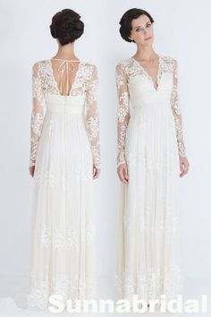 Hey, I found this really awesome Etsy listing at https://www.etsy.com/listing/174794814/ivory-v-back-long-sleeves-chiffon-lace