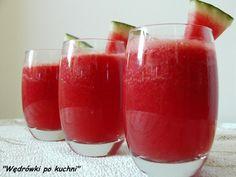 Smoothie z banana i żurawiny Składniki: dojrzałego… Cocktails, Drinks, Cantaloupe, Smoothies, Watermelon, Food And Drink, Cooking Recipes, Pudding, Fruit