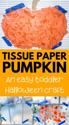 Easy Halloween pumpkin craft for toddlers and preschoolers! No glue required for this contact paper pumpkin craft - super easy and no mess. Fun indoor activity and doubles as easy DIY Halloween decoration! Easy Toddler Crafts, Halloween Crafts For Toddlers, Toddler Art Projects, Toddler Halloween, Easy Halloween, Fall Pumpkin Crafts, Easy Fall Crafts, Paper Pumpkin, Thanksgiving Crafts