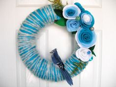 Items similar to Ombre Blue Jay Yarn Wreath - The Original Felt Yarn Wreath on Etsy Felt Flower Wreaths, Felt Wreath, Diy Wreath, Felt Flowers, Yarn Wreaths, Wreath Ideas, Handmade Crafts, Diy Crafts, Blue Ombre