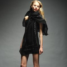 This tranquil black wrap is the thing to wear to keep warm while you're stargazing with your beau.