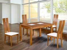"""Pack """"salle à manger"""": Ensemble Table   4 chaises SALENA - Hêtre massif - Coloris chêne"""