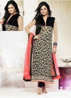 Cream and Black Faux Georgette Embridery Work Designer Salwar Suit #Saree #anarkali #SalwarSuits #Kurtis #Gown #LehengaCholi #jewellery   #UttamVastra  #EthnicWear #price #onlineshopping #indianwear #buyonline #instagram #fashionjewellery #trendydress #Navratri #Diwali