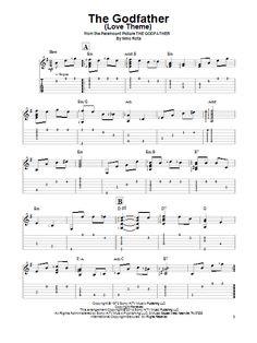 Nino Rota: The Godfather (Love Theme) - Partition Tablature guitare facile - Plus de 70.000 partitions à imprimer !