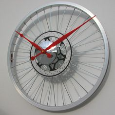 Bike Sprocket Coloured Hands Wheel Clock
