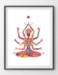 Indian mother Kali goddess Watercolor Print Kali Ma poster Spiritual art yoga print Wall Art Poster Devi feminine energy symbol print [N694] Sizes: 8x10, 12x16, 16x20, 18x24, 24x36 Packed for shipping