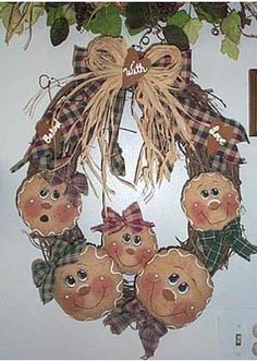 Gingerbread Painting Patterns | ... Wreath Pattern..... Gingerbread Faces... PDF Pattern ... E Pattern