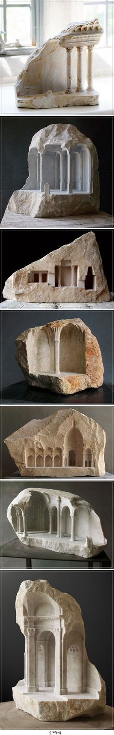 Marble and Stone Sculptures by Matthew Simmonds 돌로 조각한 건축물