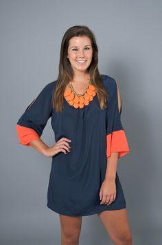 Orange and Navy Dress with Orange Necklace