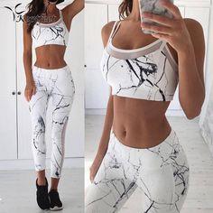 Gilet Débardeur Leggings Survêtement Vêtements Fitness Blanc Patchwork Gym  Sportswear Tenues Costume de Sport Femmes 2 f1cd4ba2e5e