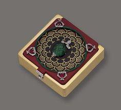 Art Deco Colored Stone, Diamond and Enamel Gem-set Compact, Marchak, Paris