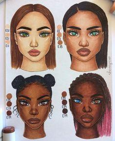 Skin color combinations 👩🏻👩🏽👩🏾👩🏿 ✨ hope it's helpful! Black Girl Art, Black Women Art, Black Art, Art Girl, Inspiration Art, Art Inspo, Copic Art, African American Art, Marker Art