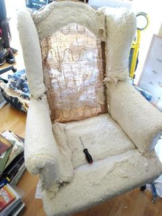 DIY Upholstering a wingback chair part I & By popular demand step by step instructions to reupholster your ...