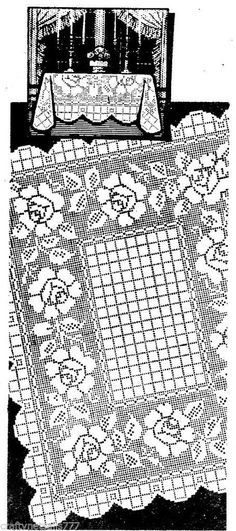 7271 Rose Table Cloth Filet Crochet Pattern Vintage Crochet Pattern