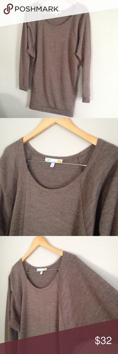 NWOT C&C California Dolman Raglan Top This sweater is so pretty and soft. It's a pretty cool tone taupe/brown color-almost looks purple.  Long enough to wear with leggings. This is a reposh-I was so sad that this didn't work for me. Happy to pass it along to one of you  C&C California Tops Blouses