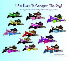 Super Hero Conquer The Day-SmartBoard Attendance