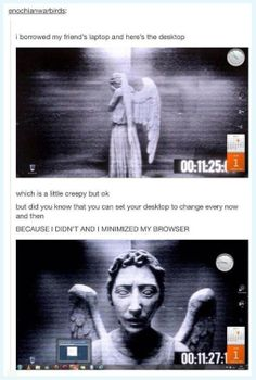 Made me laugh so hard. I would be flipping out though for real. Scariest Doctor Who creature ever